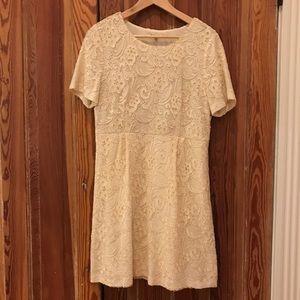 Madewell - Cream Lace Knee-Length Cocktail Dress